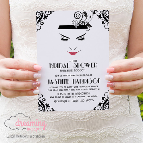 Gatsby 1920s flapper art deco bridal shower invitation bridal shower invitation gatsby 1920s flapper art deco black filmwisefo