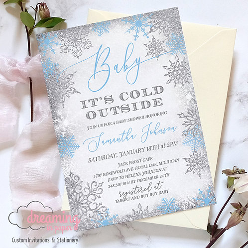 Baby It's Cold Outside Silver Blue Frost Baby Shower Invitations