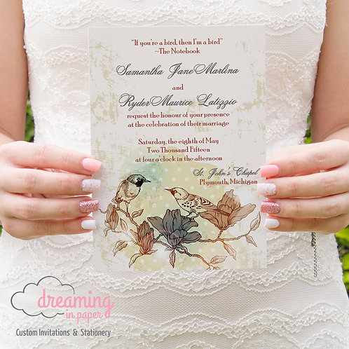 Love Birds Vintage Wedding Invitation Set