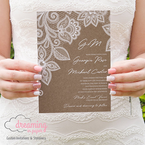 Lace Kraft Rustic and Delicate Wedding Invitation Set