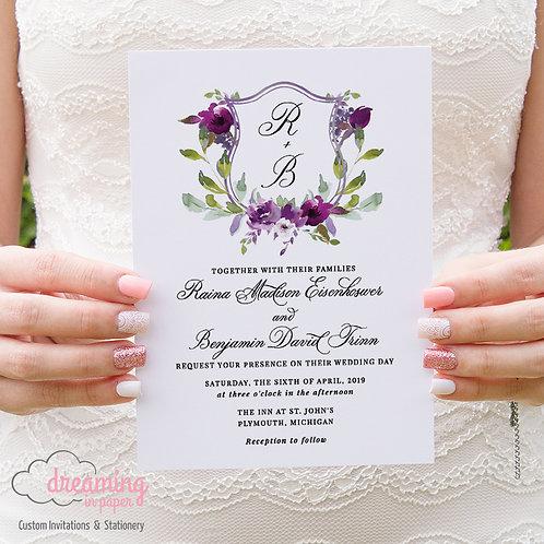 Purple Plum Floral Watercolor Wedding Crest Monogram Wedding Invitations 178