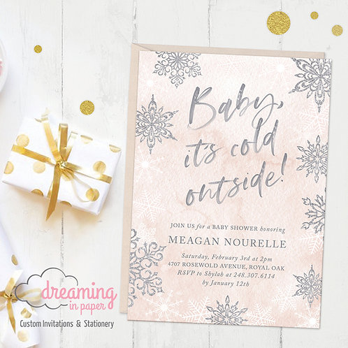 Baby It's Cold Outside Pink Silver Baby Shower Invitations