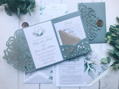 Dusty Blue Green Laser Cut Pocket Wedding Invitations 418