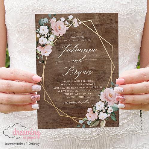 Rustic Geometric Mauve Pink Floral Eucalyptus Wedding Invites 261