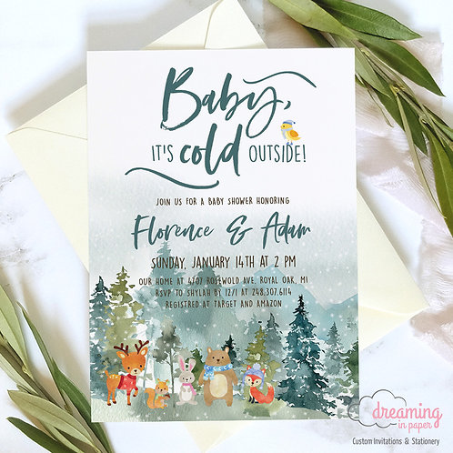Baby Shower Invite, Rustic Baby Shower, Forest Baby Shower, Baby It's Cold Outside Invite