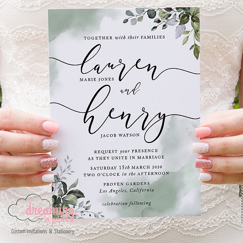 Greenery Botanical Green Watercolor Wedding Invitations 301