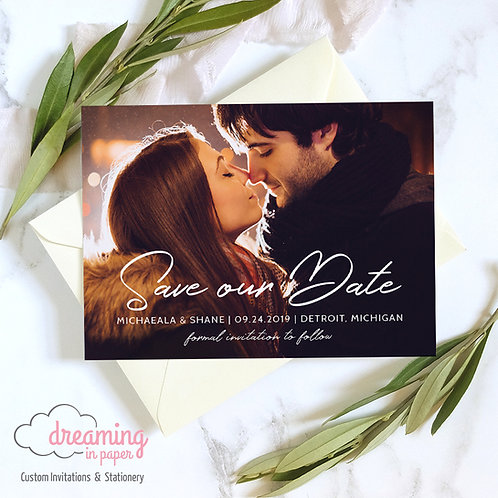 Modern Holland Photo Save the Date with Handwritten Script
