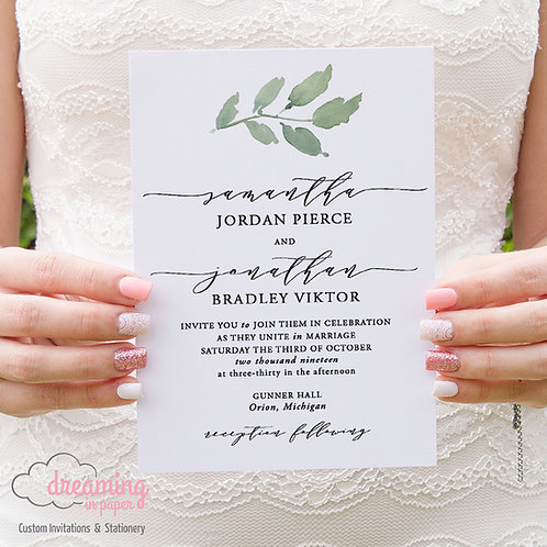 Greenery Melika Classic Wedding Invitations 215