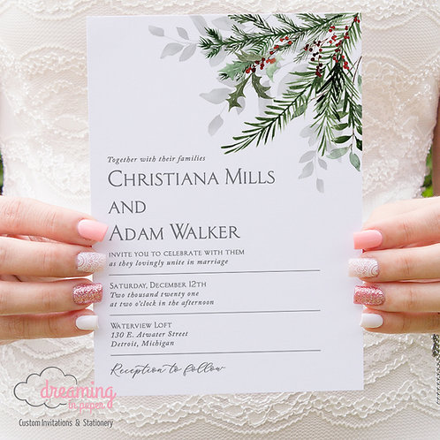Christmas Wedding Invitations, Holiday Wedding, Holly Wedding, Pine Tree Wedding, Pine Branches, Pine Needles