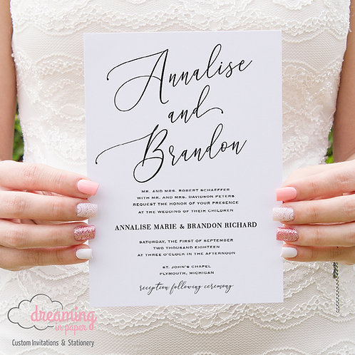 Handwritten Script Wedding Invitation - Aurellia Schneider