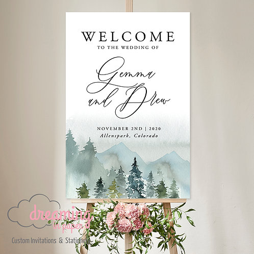 Rustic Mountain Forest Watercolor Welcome Sign 217