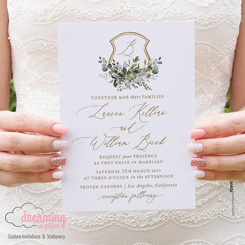 Romantic Greenery Lisima Golden Wedding Crest Invitations 272