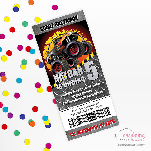 Monster Truck Jam Pit Pass Birthday Invitation