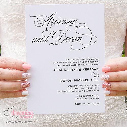 Classic Mozart Script Wedding Invitations 361