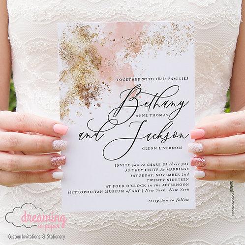 Blush Watercolor Gold Splatter Paint Modern Script Wedding Invitations 244