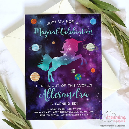 Unicorn Space Galaxy Planets Birthday Invitation
