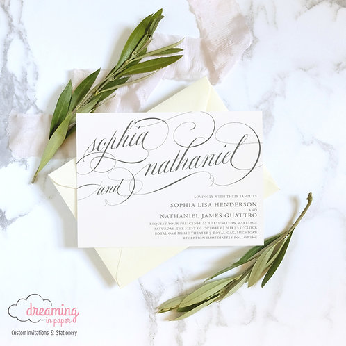 Classic and Elegant Horizontal Mozart Wedding Invitation Set
