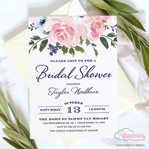 Blush / Pink and Navy with Roses Floral Bridal Shower Invitation