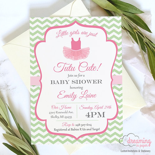 Tutu Cute Pink and Green Chevron Baby Shower Invitation