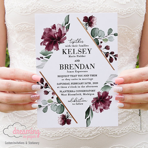 burgundy wedding invites, wedding invites, diamond invites, copper burgundy, burgundy floral, eucalyptus