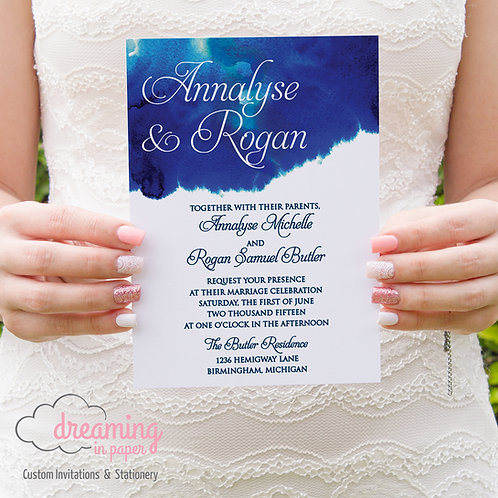 Blue Wondercolor Watercolor Wedding Invitation Set