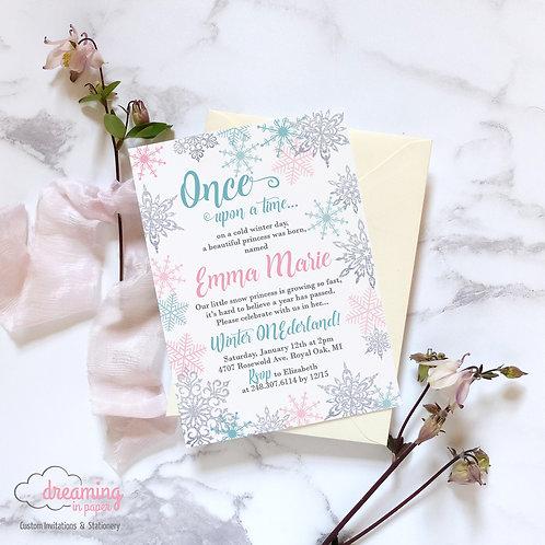 Snow Princess Fairytale Silver Sparkle Snowflakes Birthday Invitation