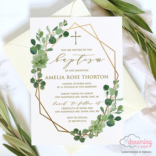 Wild Greenery Gold Geometric Baptism Invitation