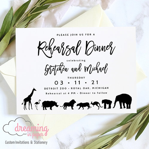 Zoo Animal Theme Rehearsal Dinner Invitations 225