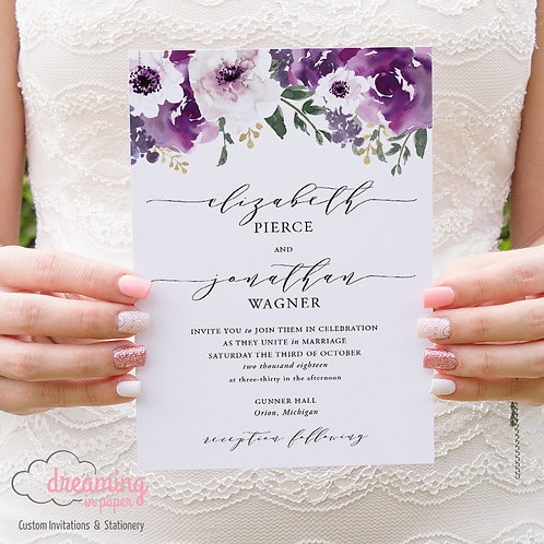 Purple Plum Garden Floral Melika Script Wedding Invitation 120
