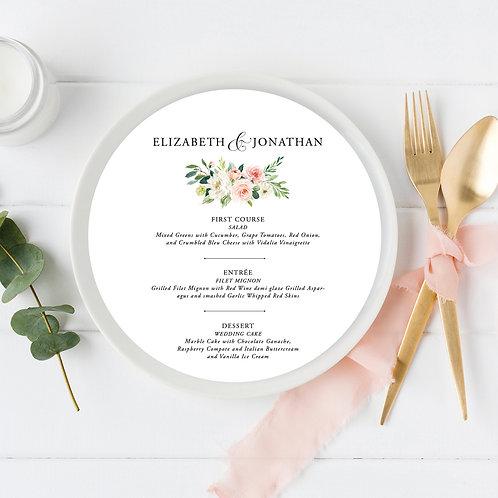 Pink Blush Floral Ethereal Circle Wedding Menu
