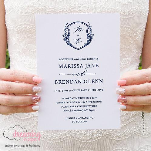Monogram Laurel Crest Wedding Invitations