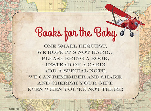 Books for Baby Card - Coordinates with Red Airplane Boarding Pass Shower Invite