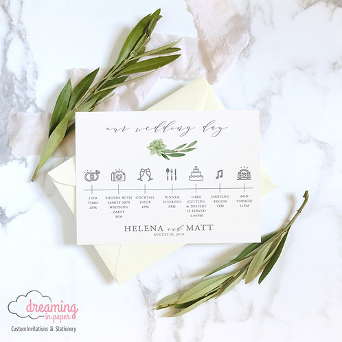 Greenery with Succulents Timeline Card