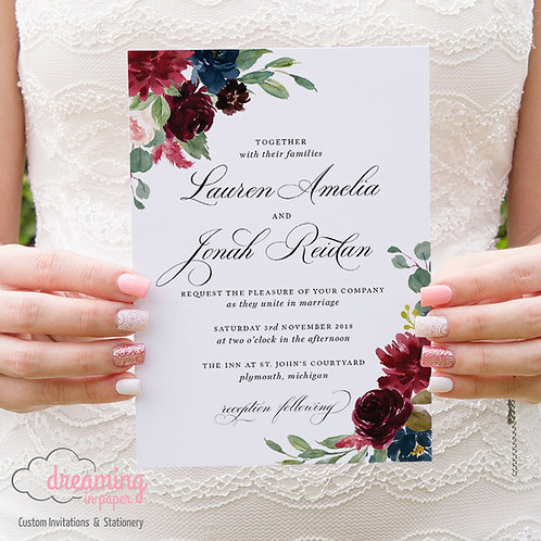 Romantic Formal Burgundy and Navy Wedding Invitations 034