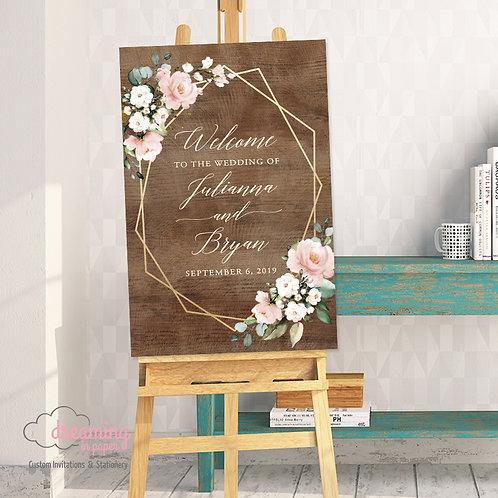 Rustic Geometric Mauve Pink Floral Eucalyptus Wedding Welcome Sign 255