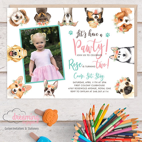 Puppy Pawty Birthday Invitations with Photo