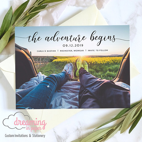 The Adventure Begins Horiz Photo Save the Dates