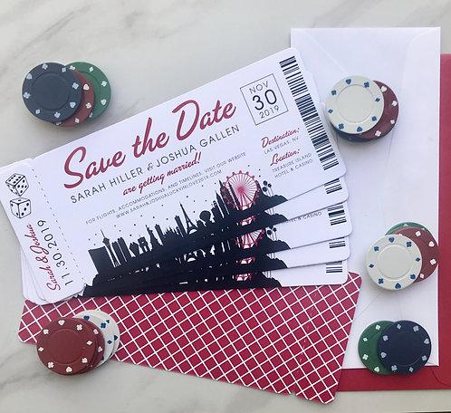 boarding pass invite, boarding pass save the date, las vegas wedding, vegas wedding, airline invite