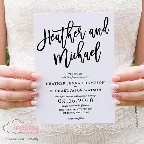 Modern Bold Script Madina Wedding Invitations