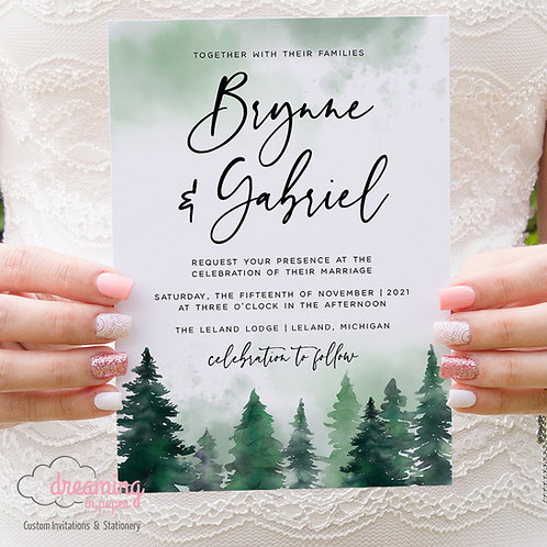 Rustic Forest Pine Trees Green Watercolor Wedding Invitation Set 382