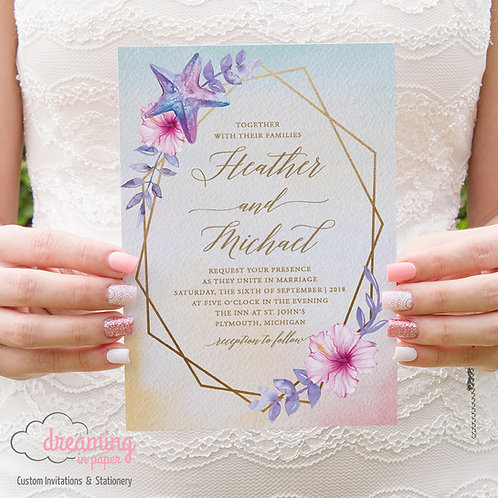 Tropical Beach Wedding Invitations with Gold Geometry 152