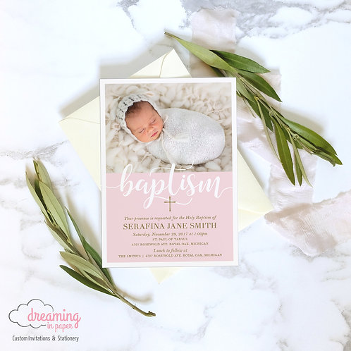 Modern Pink Baptism Invitation with Photo