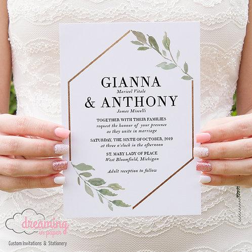 Eucalyptus Leaves Greenery Copper Hexagon Wedding Invitations 246