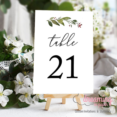 Holly Sprig Christmas Holiday Table Numbers
