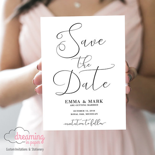 England Script Formal Save the Dates