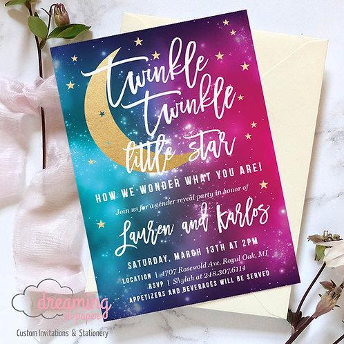 Twinkle Twinkle Little Star Galaxy Gender Reveal Invitation