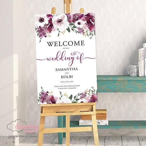 Burgundy Plum Floral Garden Wedding Welcome Sign-194