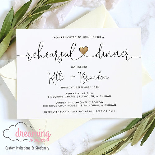 Modern and Cute Connecting Gold Heart Rehearsal Dinner Invitation
