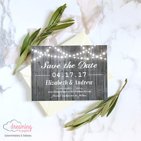 Rustic Glowing Lights and Wood Save the Dates