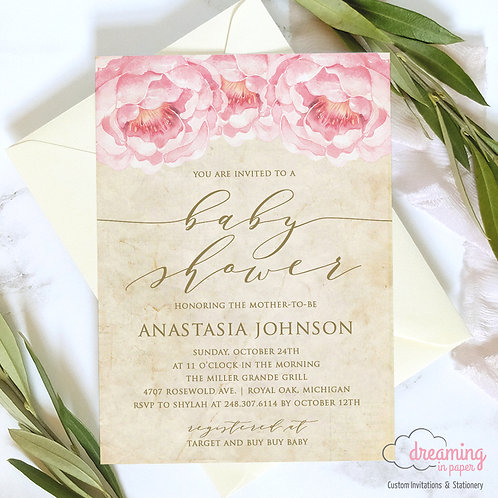 Vintage / Antique Pink Peony Baby Shower Invitation